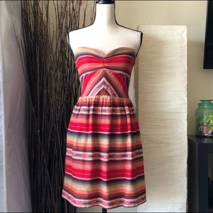Festive A Line Red Mexican Blanket Strapless Dress